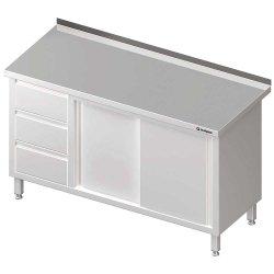 Stół przyścienny z blokiem trzech szuflad (L),drzwi suwane 1500x700x850 mm