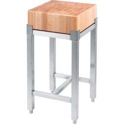 kloc masarski drewniany 400x400x850 mm na podstawie ze stali nierdzewnej
