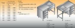Stół zlewozmywakowy 1-zbiornikowy lo 208/s3 - 1700x700