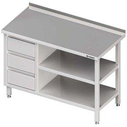Stół przyścienny z blokiem trzech szuflad (L),i 2-ma półkami 1400x700x850 mm