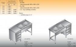 Stół zlewozmywakowy 2-zbiornikowy lo 238/s3 - 1700x700