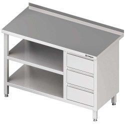 Stół przyścienny z blokiem trzech szuflad (P),i 2-ma półkami 1600x700x850 mm