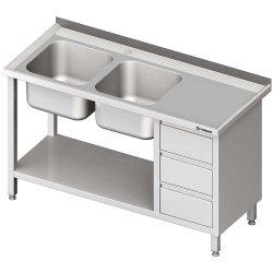 Stół ze zlewem 2-kom.(L), z blokiem trzech szuflad i półką 1600x700x850 mm