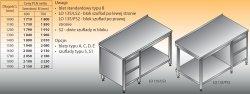 Stół roboczy z blokiem szuflad i półką lo 135/s2 - 1600x700