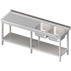 Stół ze zlewem 2-kom.(P),z półką 2600x700x850 mm