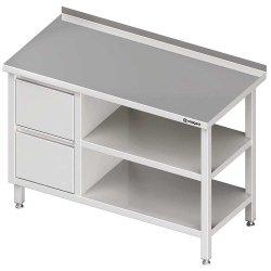 Stół przyścienny z blokiem dwóch szuflad (L),i 2-ma półkami 1900x700x850 mm