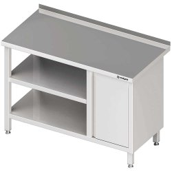 Stół przyścienny z szafką (P),i 2-ma półkami 1600x600x850 mm