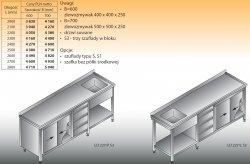 Stół zlewozmywakowy 1-zbiornikowy lo 227/s3 - 2800x600