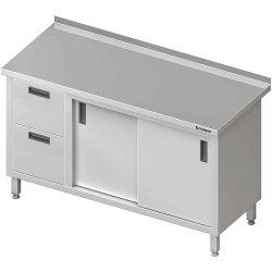 Stół przyścienny z blokiem dwóch szuflad (L),drzwi suwane 1900x700x850 mm