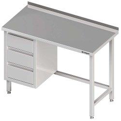 Stół przyścienny z blokiem trzech szuflad (L),bez półki 1600x600x850 mm