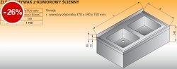 Zlewozmywak 2-komorowy ścienny lo 415 - 900x500