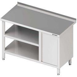 Stół przyścienny z szafką (P),i 2-ma półkami 1300x700x850 mm