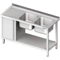 Stół ze zlew 2-kom.(P), z szafką i półką 1800x600x850 mm