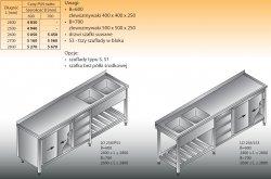 Stół zlewozmywakowy 2-zbiornikowy lo 258/s3 2600x700