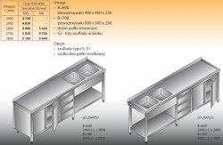 Stół zlewozmywakowy 2-zbiornikowy lo 254/s3 - 2700x700