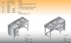Stół zlewozmywakowy 2-zbiornikowy lo 238/s2 - 1700x700