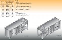 Stół zlewozmywakowy 1-zbiornikowy lo 228/s3 - 2700x700
