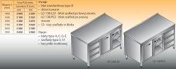 Stół roboczy z blokiem szuflad i szafką lo 138/s3 - 1700x600