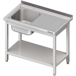 Stół stalowy z półką ze zlewem 1-komorowym lewym, spawany, 1000x600x850 mm
