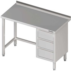Stół przyścienny z blokiem trzech szuflad (P),bez półki 1400x700x850 mm