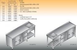 Stół zlewozmywakowy 1-zbiornikowy lo 228/s2 - 2800x700