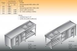 Stół zlewozmywakowy 2-zbiornikowy lo 255/s2 - 2800x600