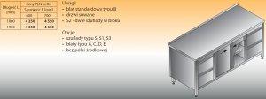 Stół roboczy z dwoma blokami szuflad i szafką lo 146/s2 - 1900x600
