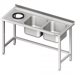 Stół przyścienny ze zlewem bez półki z otworem 1500x600x850 mm, 2-komory po prawej spawany