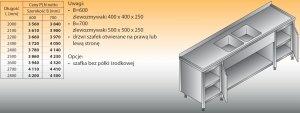 Stół zlewozmywakowy 2-zbiornikowy lo 251 - 2800x700
