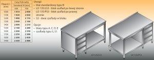Stół roboczy z blokiem szuflad i półką lo 135/s3 - 1500x700