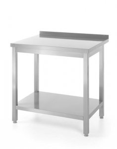 Stół roboczy przyścienny z półką - skręcany, o wym. 1600x600x850 mm