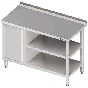 Stół przyścienny z szafką (L),i 2-ma półkami 1800x600x850 mm