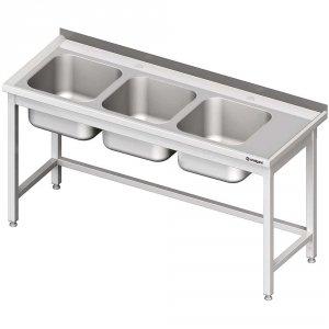 Stół ze zlewem 3-kom.(L),bez półki 1800x700x850 mm