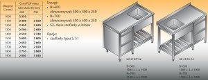 Stół zlewozmywakowy 1-zbiornikowy lo 210/s2 - 1900x700