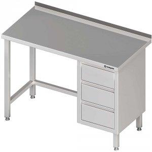 Stół przyścienny z blokiem trzech szuflad (P),bez półki 1600x700x850 mm