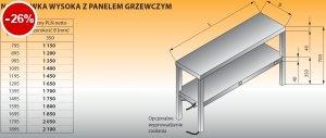 Nadstawka wysoka z panelem grzewczym lo 714 - 1495x350