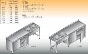 Stół zlewozmywakowy 2-zbiornikowy lo 242 - 2300x700