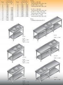 Stół zlewozmywakowy 2-zbiornikowy lo 233 - 2500x600