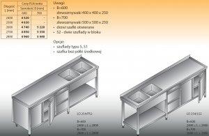 Stół zlewozmywakowy 2-zbiornikowy lo 254/s2 - 2800x700