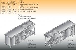 Stół zlewozmywakowy 2-zbiornikowy lo 255/s2 - 2700x700