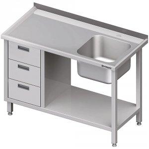 Stół ze zlewem 1-kom.(P), z blokiem trzech szuflad i półką 1700x700x850 mm