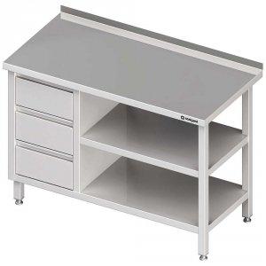 Stół przyścienny z blokiem trzech szuflad (L),i 2-ma półkami 1700x600x850 mm