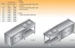 Stół zlewozmywakowy 2-zbiornikowy lo 248 - 2700x700