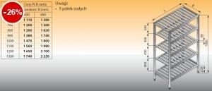 Regał z półkami stałymi ociekowymi lo 603 - 1200x600
