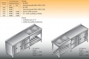 Stół zlewozmywakowy 2-zbiornikowy lo 258/s2 - 2800x700