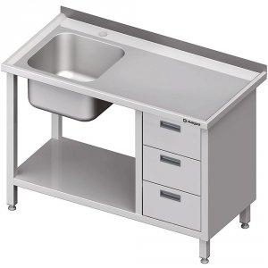 Stół ze zlewem 1-kom.(L), z blokiem trzech szuflad i półką 1800x600x850 mm