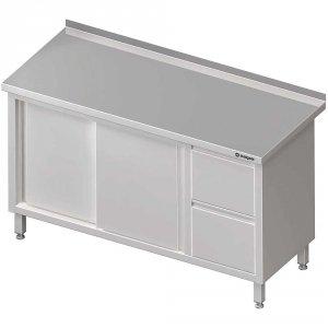 Stół przyścienny z blokiem dwóch szuflad (P),drzwi suwane 1800x700x850 mm