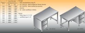 Stół roboczy z blokiem szuflad lo 134/s2 - 1700x600