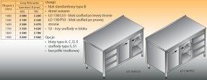 Stół roboczy z blokiem szuflad i szafką lo 138/s3 - 1500x600