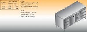 Stół roboczy z dwoma blokami szuflad i szafką lo 146/s3 - 1900x700